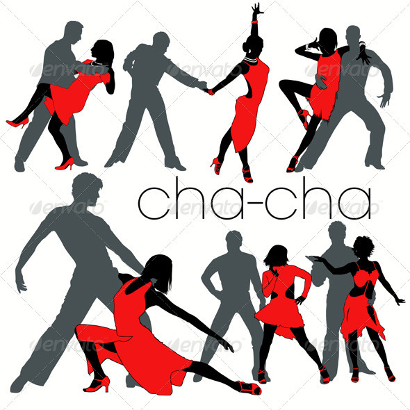 Cha-cha Dancers Silhouettes Set - People Characters