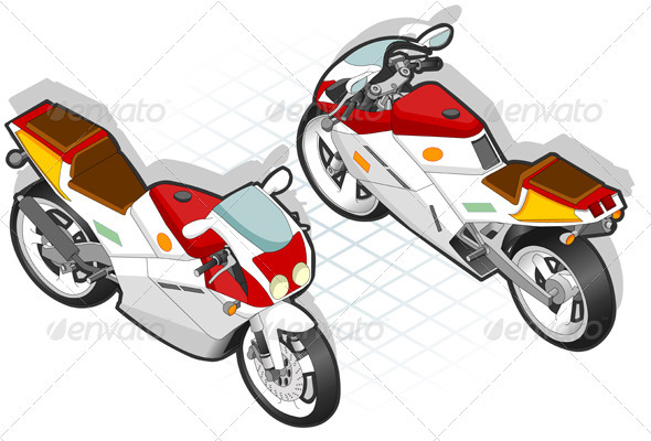 Isometric Mororcycle in Two Positions - Miscellaneous Vectors