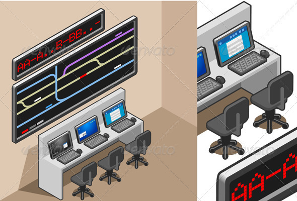 Isometric Controll Center - Miscellaneous Vectors