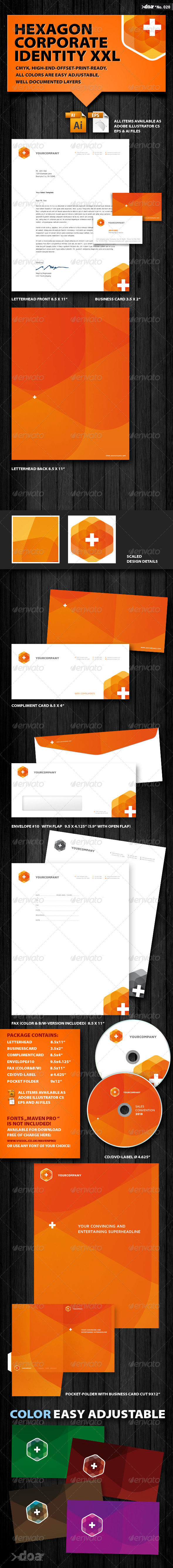 Hexagon Corporate Identity XXL - Stationery Print Templates