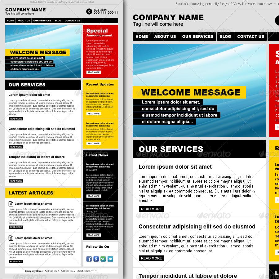 Professional modern magazine style e newsletter by r for Modern newsletter design