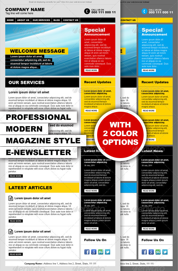 Professional Modern Magazine Style E-newsletter - E-newsletters Web Elements