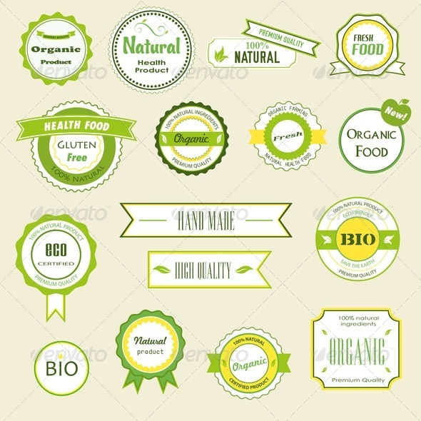 Organic Labels, Logos and Stickers - Health/Medicine Conceptual