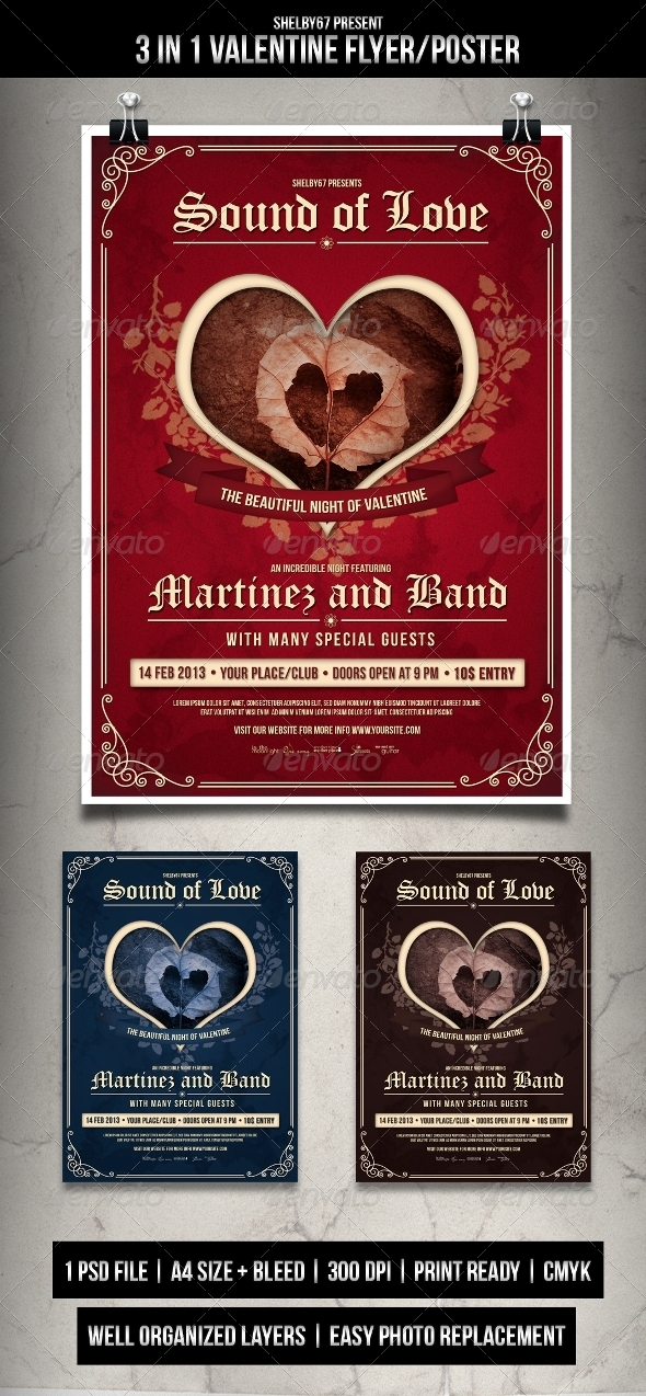 Valentine Flyer / Poster 3 in 1 Style - Events Flyers