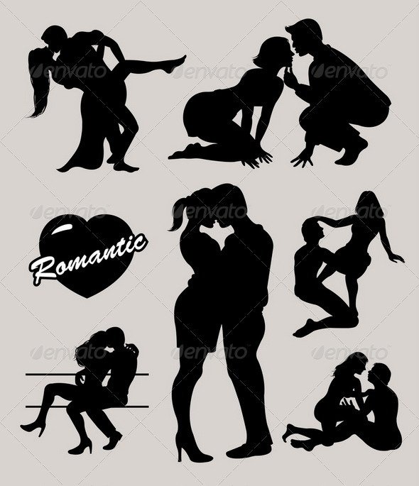 Romantic love couple silhouettes 2 - Characters Vectors
