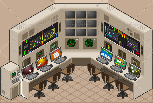 Isometric Control Center With Two Mega Screen - Miscellaneous Vectors