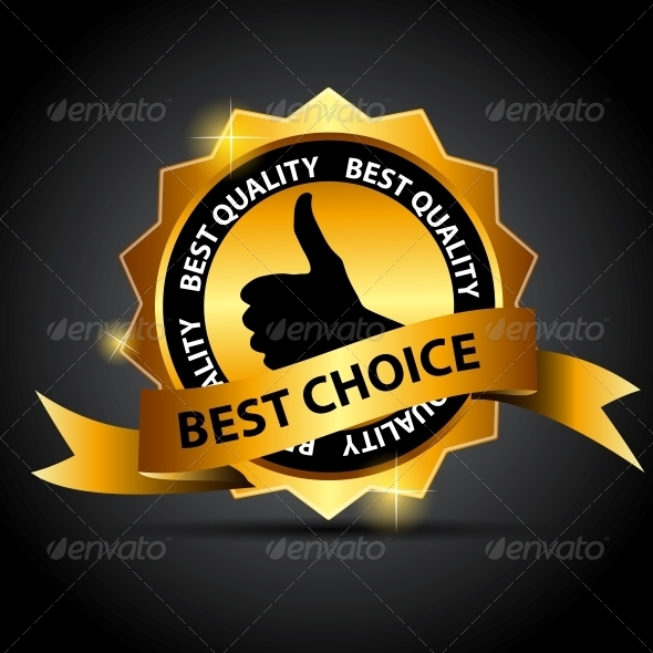 Vector Best Choice Label with Red Ribbon. - Retail Commercial / Shopping