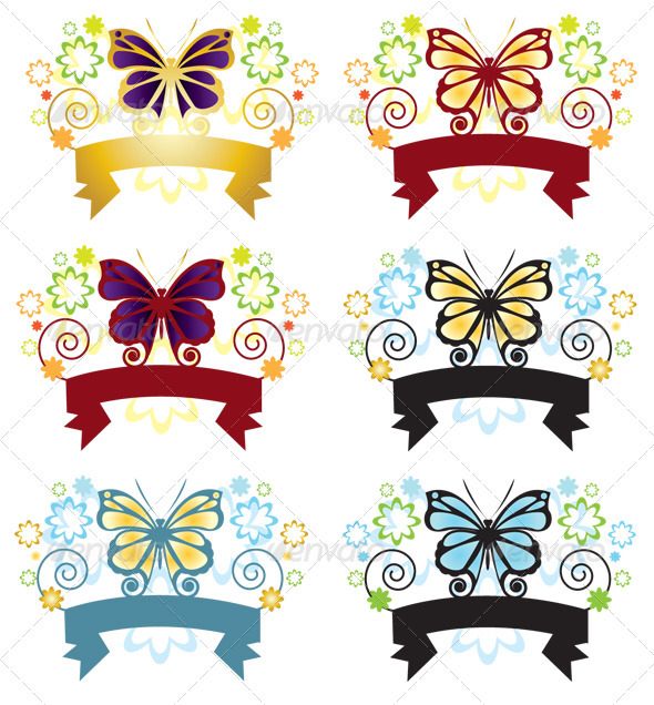 Butterfly Banner - Decorative Vectors