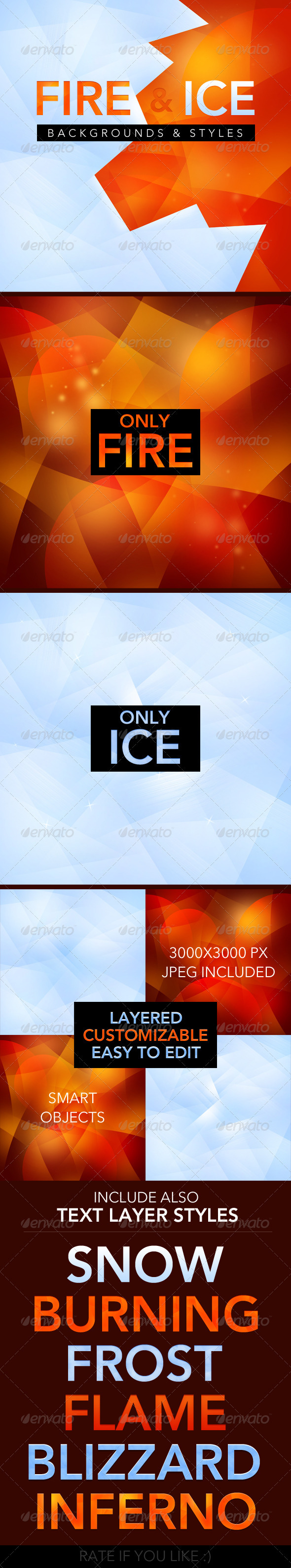 Fire and Ice backgrounds - text styles - Backgrounds Graphics