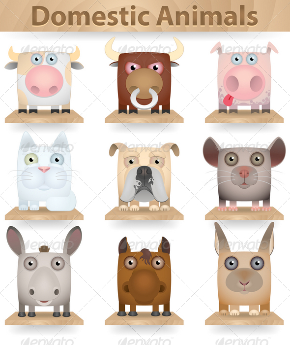 Domestic Animals Icon Set - Animals Characters