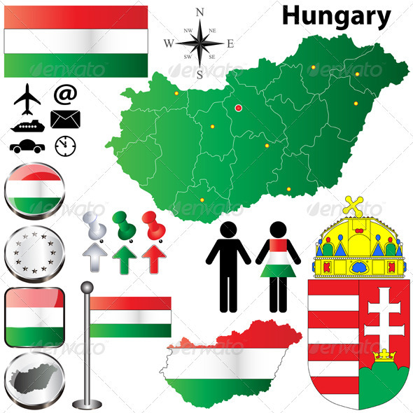 Hungary Map - Travel Conceptual