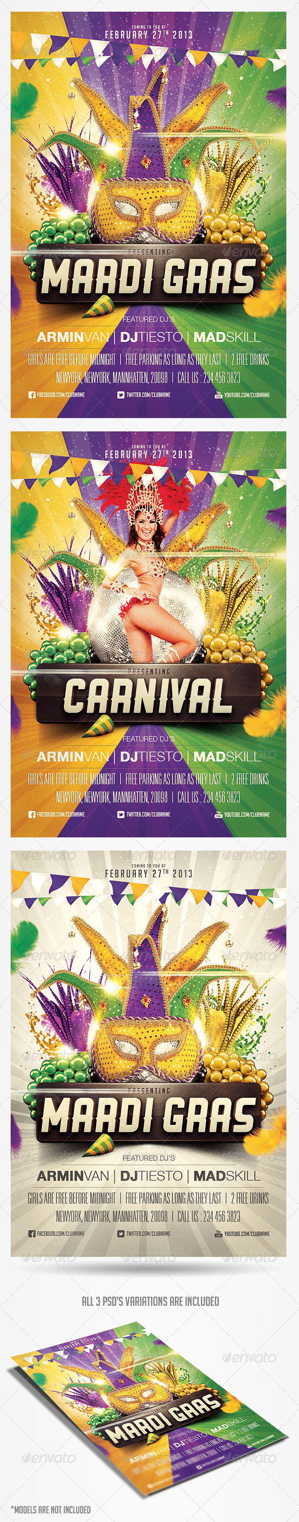 mardi gras carnival flyer templatesaltshaker911 | graphicriver, Powerpoint templates