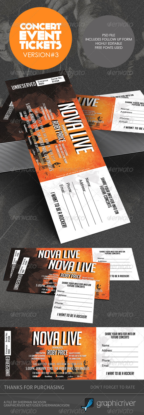 Concert Event TicketsPasses Version 3 by ShermanJackson