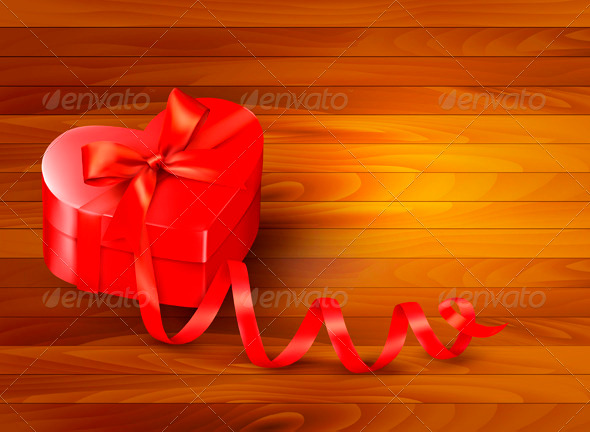 Holiday Background with Gift Red Box and Ribbon - Valentines Seasons/Holidays