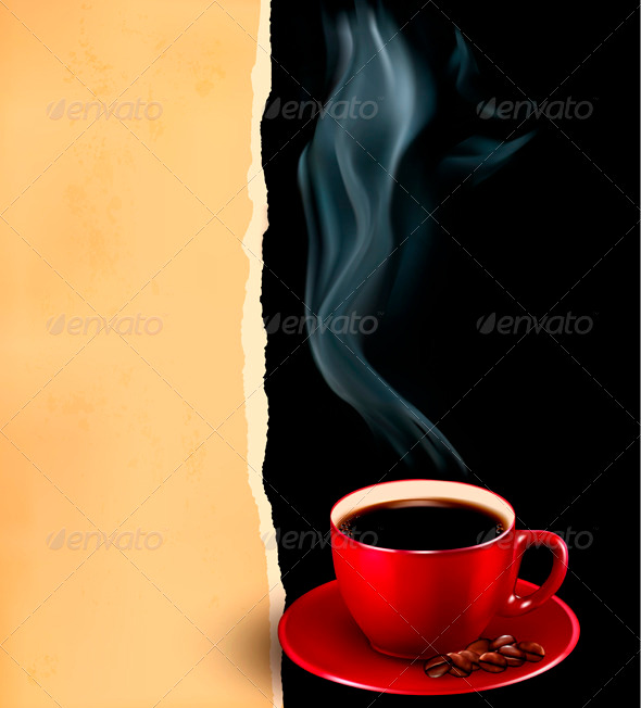 Background with Cup of Coffee and Old Paper - Food Objects