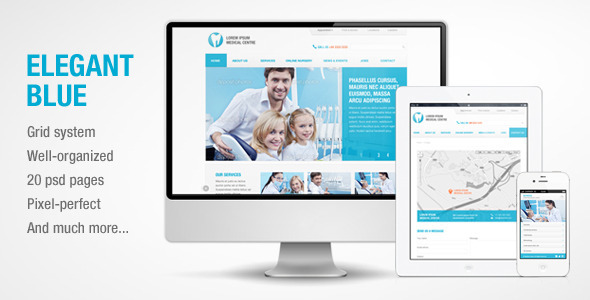 Elegant Blue – Responsive Business PSD template
