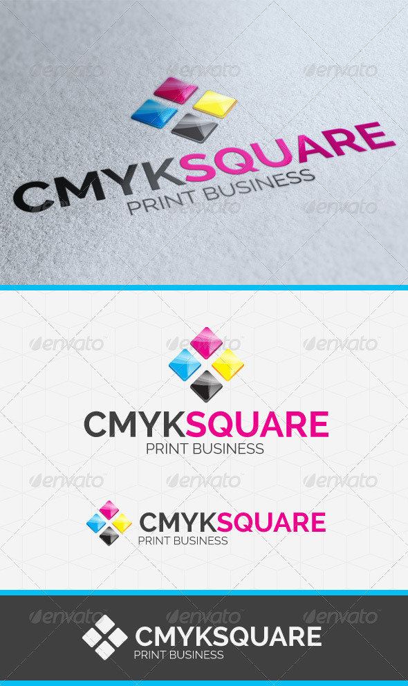 CMYK Square Logo Template - Vector Abstract