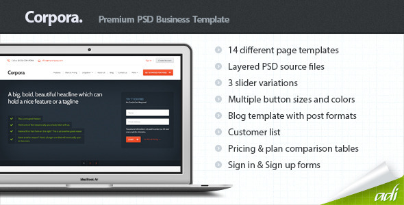 Corpora – Premium Business PSD Template
