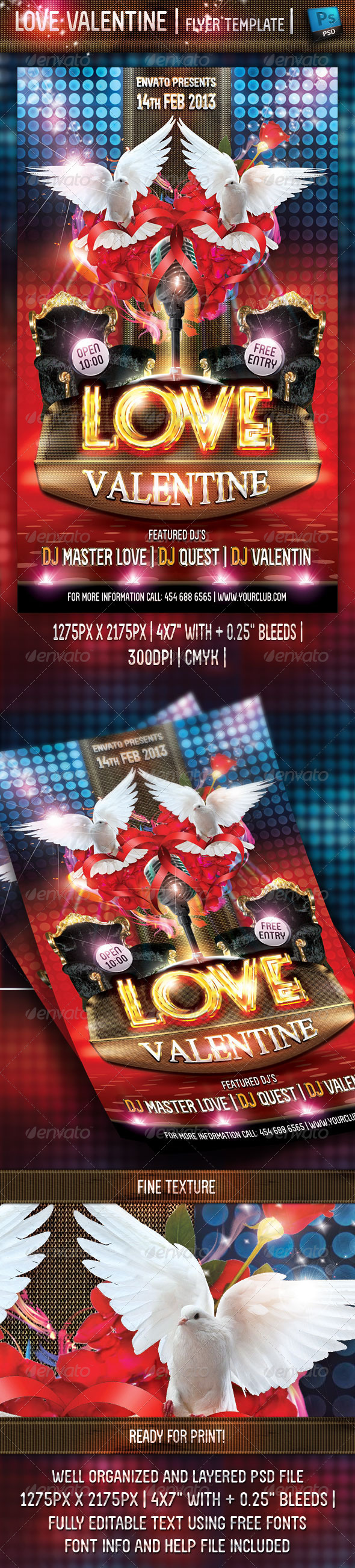 Love Valentine Flyer Template - Clubs & Parties Events