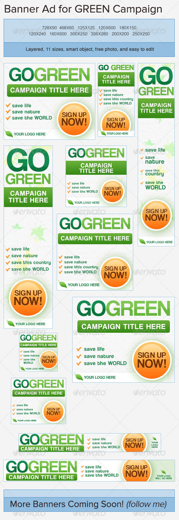 Go Green Banner Ads - Banners & Ads Web Elements