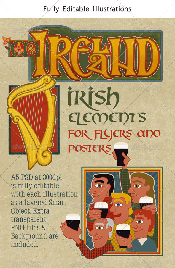 Ireland: Set of Modern Traditional Irish Graphics - Backgrounds Decorative