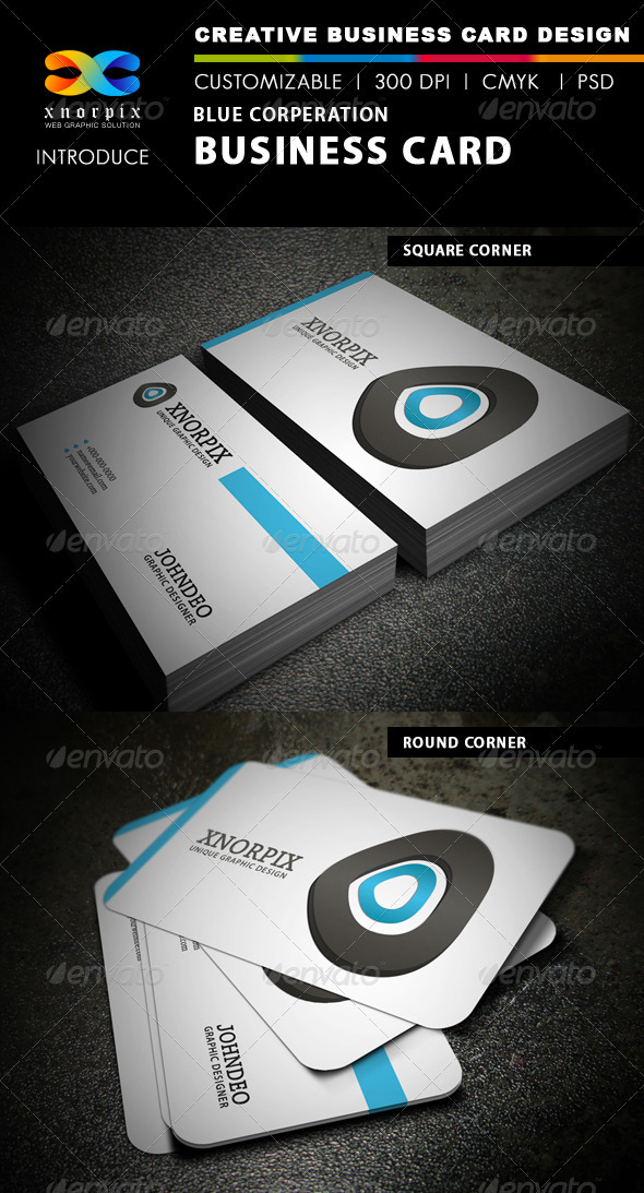 Blue Corporation Business Card - Corporate Business Cards