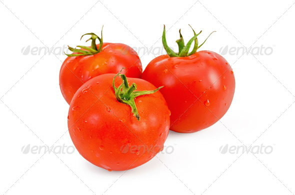 Tomatoes whole with water drops - Stock Photo - Images