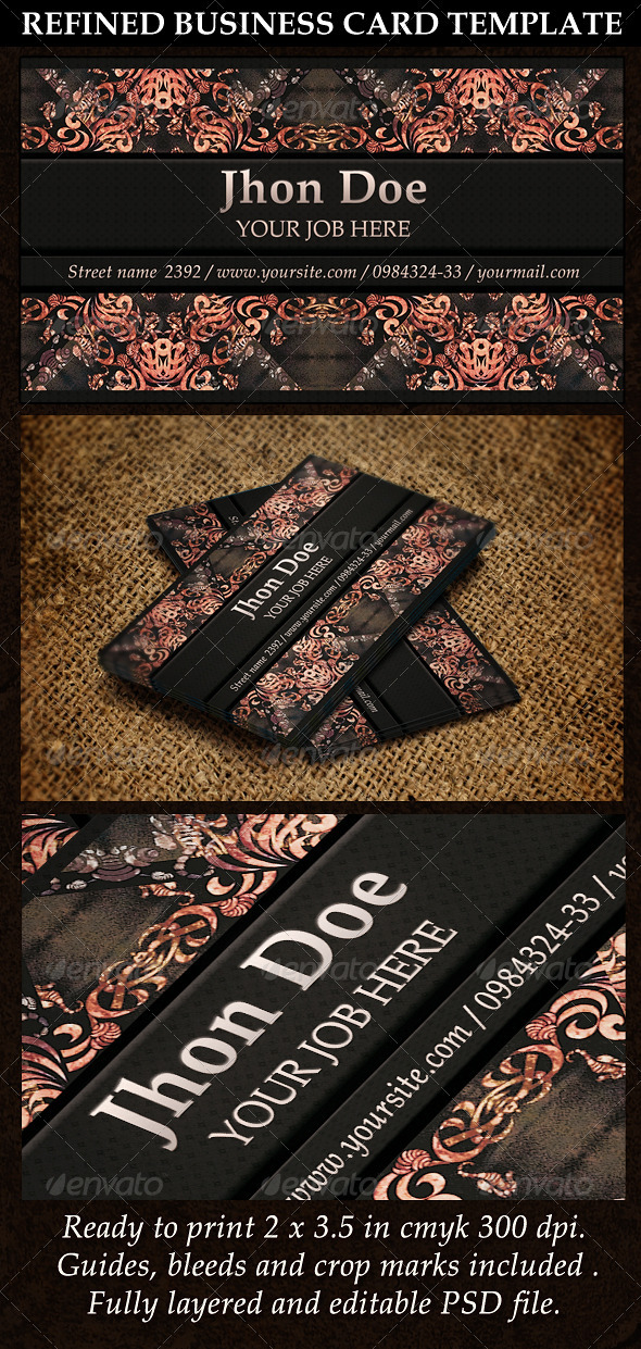 Refined Business Card Template - Retro/Vintage Business Cards