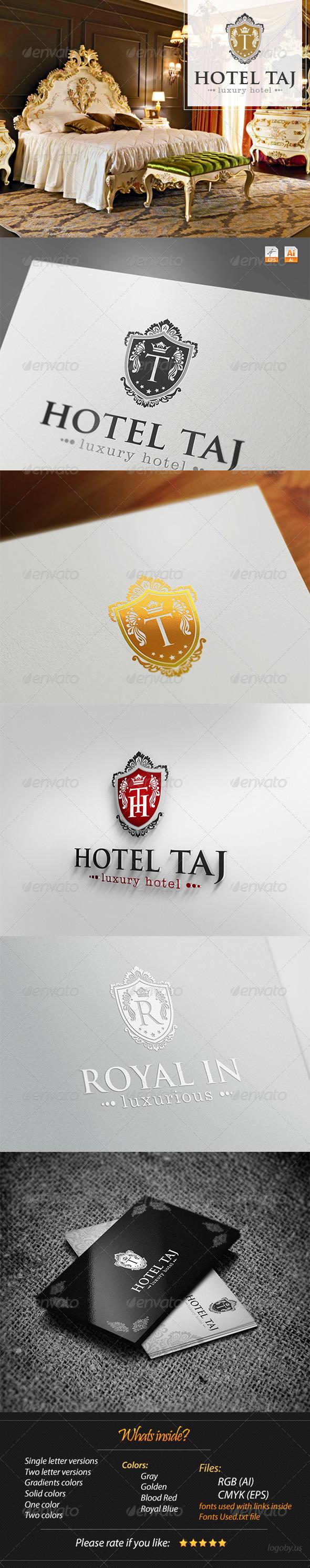 Hotel Taj- Luxury Crest Logo - Crests Logo Templates