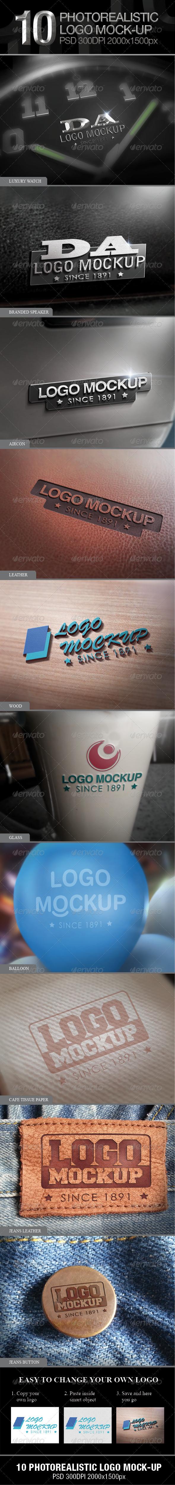 10 Photorealistic Logo Mock-up - Logo Product Mock-Ups