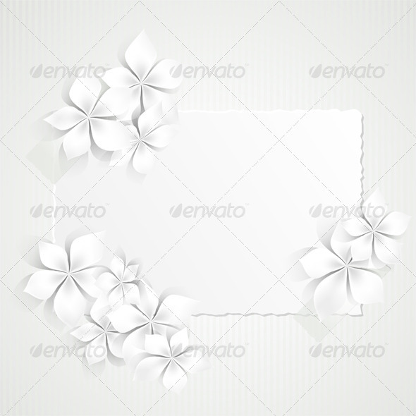 Paper and White Flowers - Backgrounds Decorative