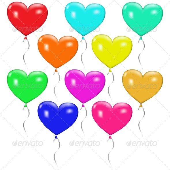 Set of Colorful Balloons in the Form of Hearts - Valentines Seasons/Holidays