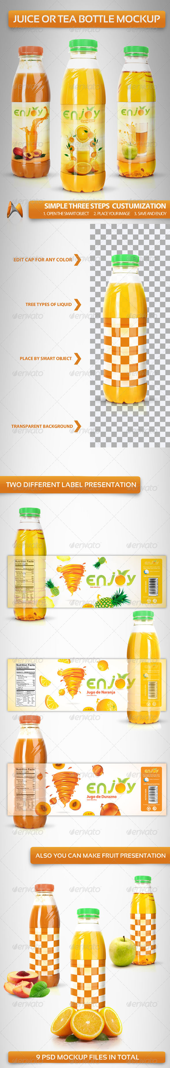 Juice or Tea Bottle Mockup - Food and Drink Packaging