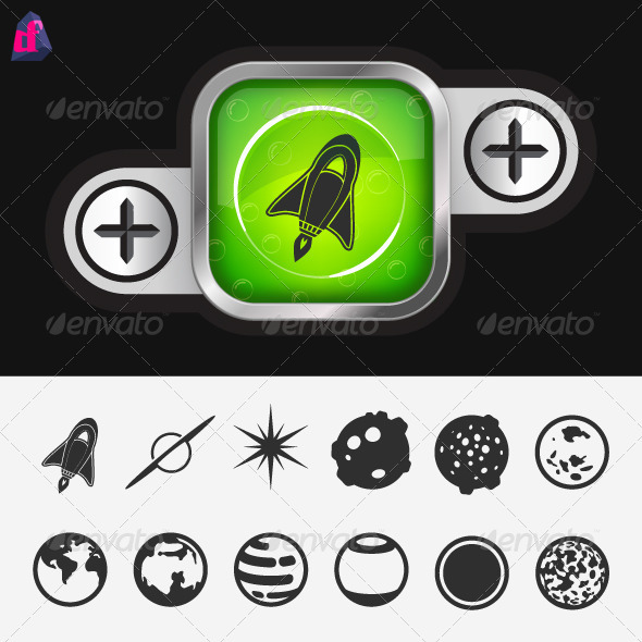 Science Button with Space Icons - Nature Conceptual