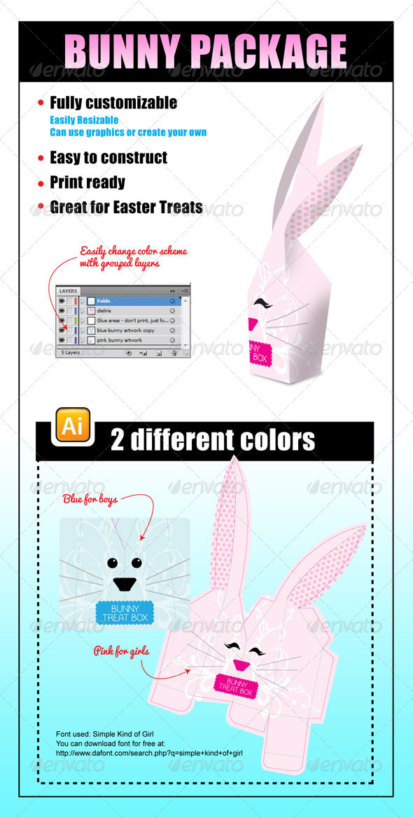 Bunny Package - Packaging Print Templates