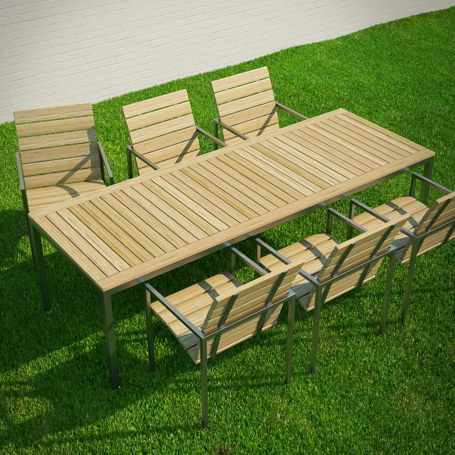 Garden Table and Chairs 3D Model by 3dlands