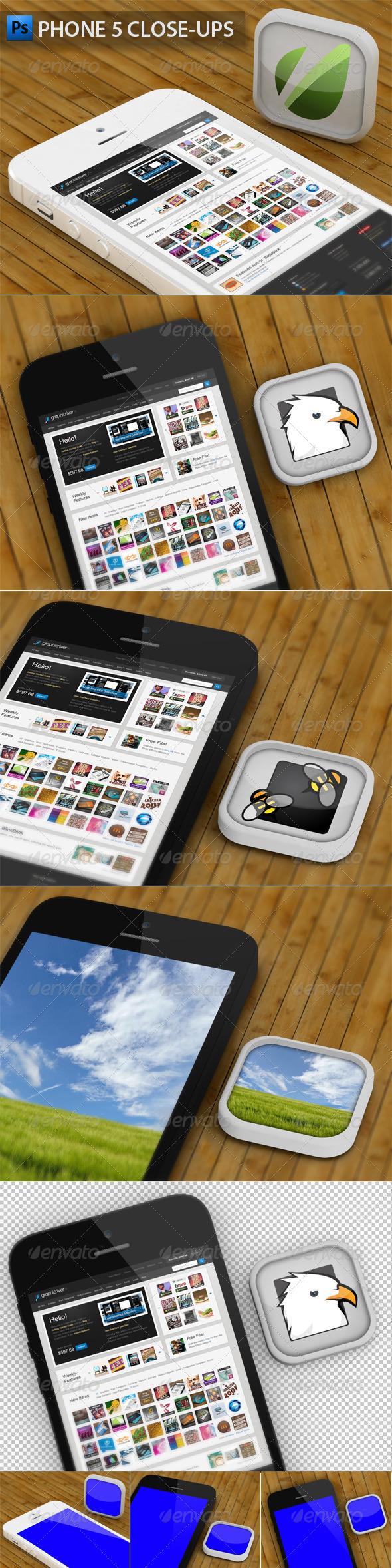 Phone 5 and App Close-ups - Mobile Displays