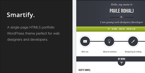 Smartify – Single Page WordPress HTML5 Portfolio
