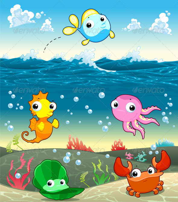 Funny Marine Family in the Sea. - Animals Characters