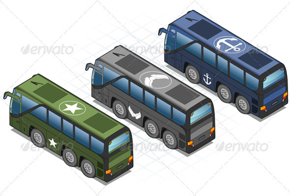Isometric Set of Military Buses - Miscellaneous Vectors