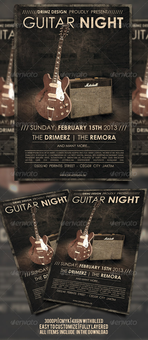 Guitar Night Flyer - Events Flyers