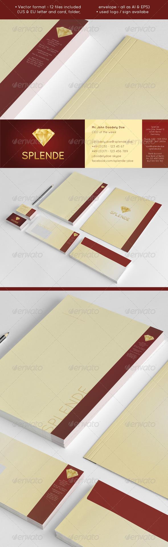 Splende - Golden Vector Diamond Jeweler Stationery - Stationery Print Templates