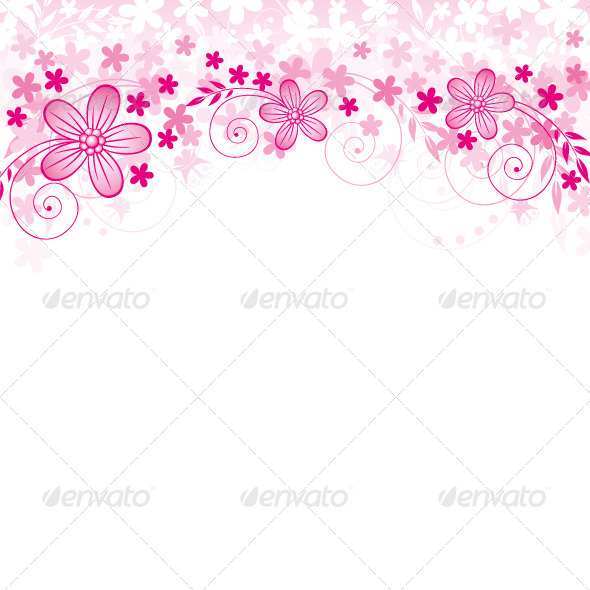 Vector Flowers Background - Flourishes / Swirls Decorative