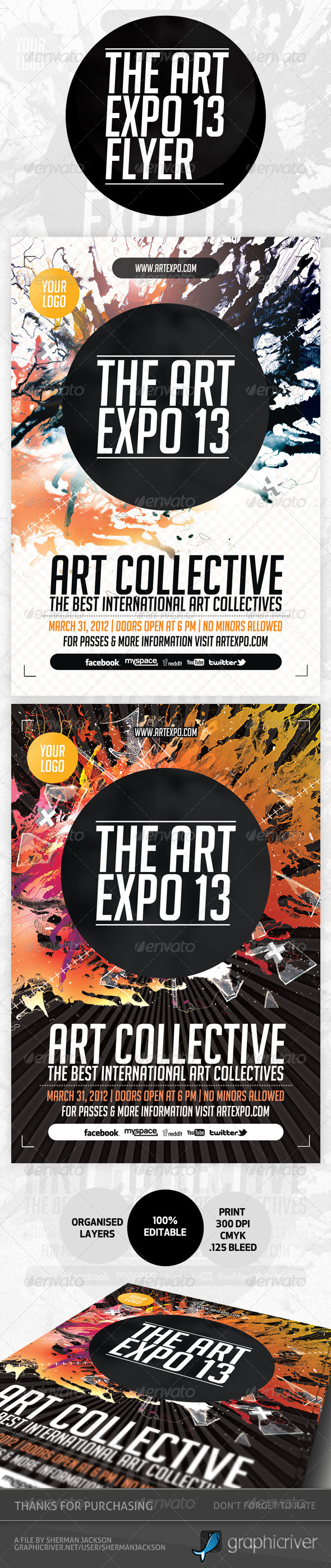Art Expo & Art Show Event Flyer Template PSD - Miscellaneous Events