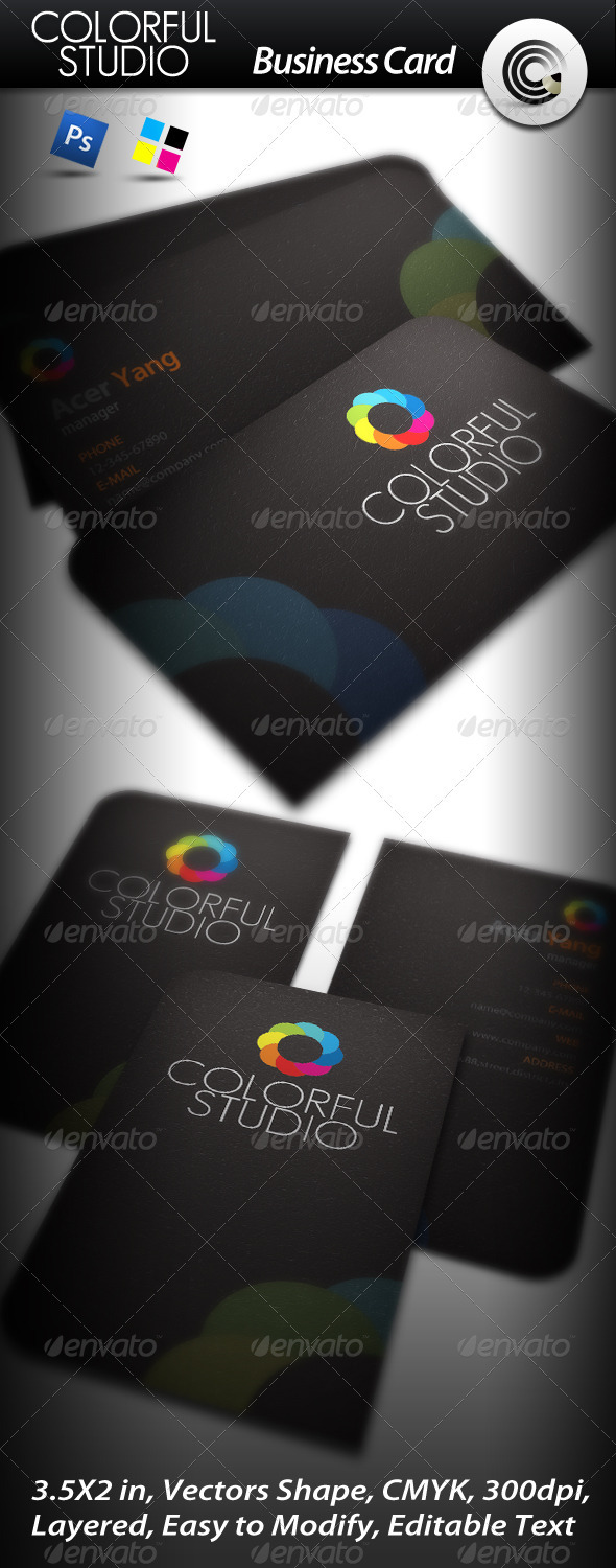 Colorful Studio Business Card - Corporate Business Cards