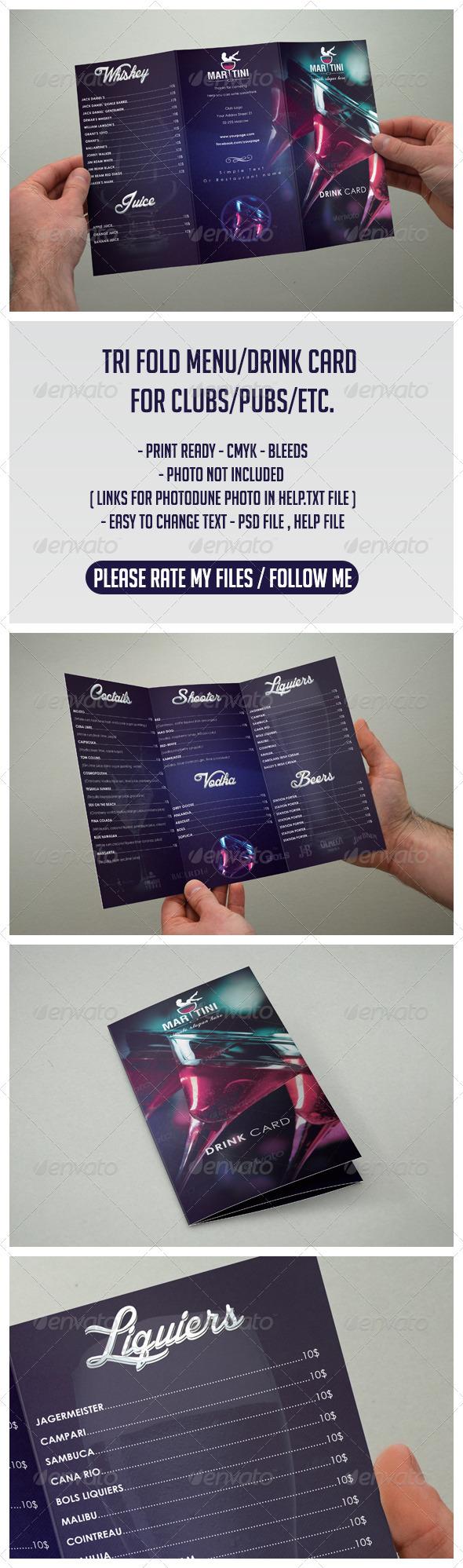 Drink Menu Club Menu Tri Fold - Food Menus Print Templates