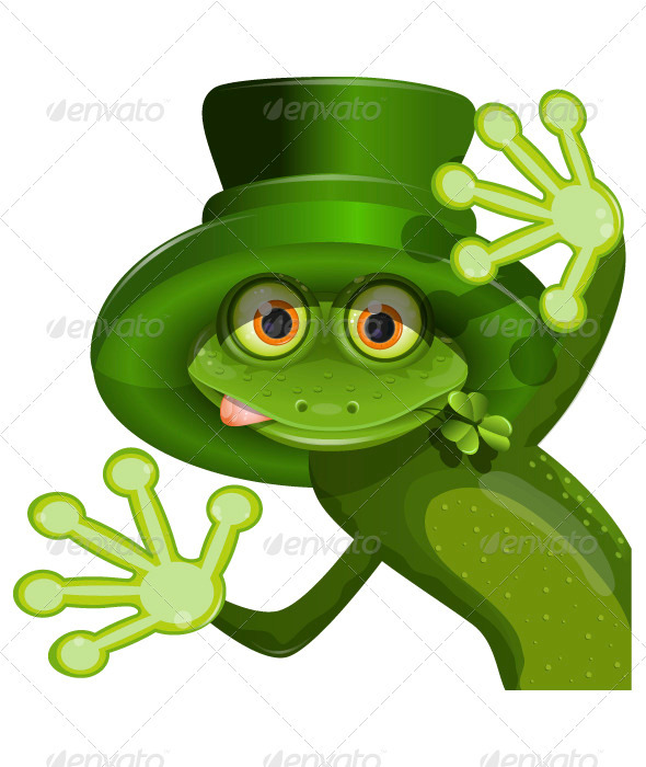 Green frog wearing a hat of Saint Patrick - Seasons/Holidays Conceptual