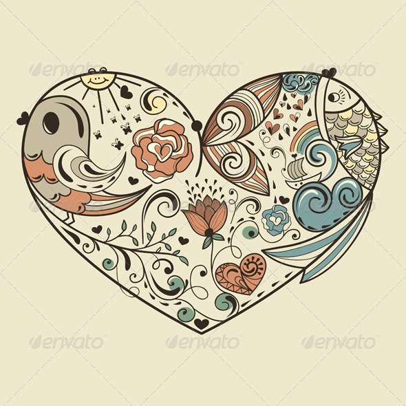 Vector Allegorical  Heart - Decorative Symbols Decorative