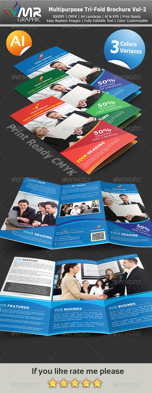 Multipurpose Tri-Fold Brochure Vol-3 - Corporate Brochures