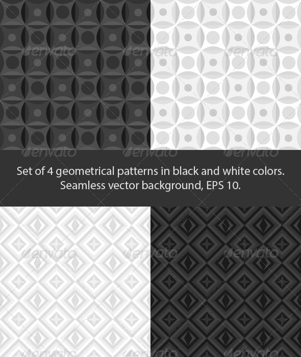 Set of 4 black and white patterns - Patterns Decorative